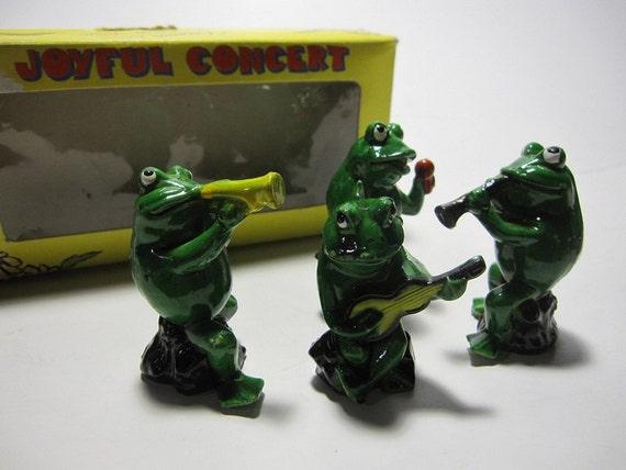 Joyful Concert - 4 Piece Set Vintage Musical Frog Band Figurines with Original Box - 1970s