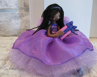 Fairy Doll African American birthday party doll purple dress