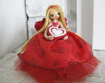 Valentines Day Fairy Red and White Hearts Blonde