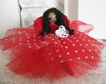 Fairy Doll Red with White Polka Dots Scrolled Heart Valentine's Day
