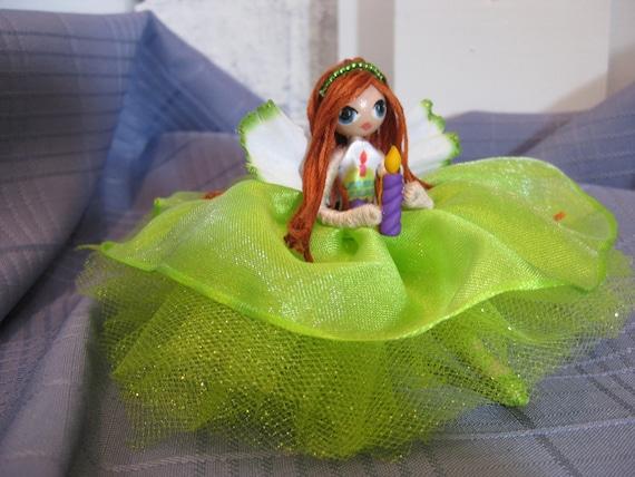 Fairy Doll Birthday Cupcake Lime Green