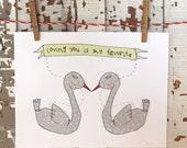 original illustration whimsical art print - loving you is my favorite