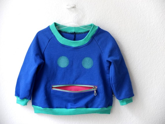 Sweater, Children Clothing, Jumper, graphic Sweatshirt, zipper pocket, royal blue and cockatoo mint, sizes 1,5 to 8T