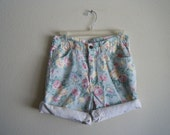 Pastel Floral High Waisted Shorts
