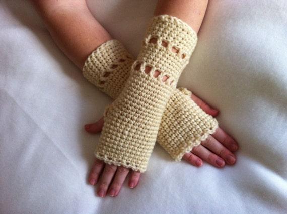 Natural 100% Virgin Wool Crochet Fingerless Gloves