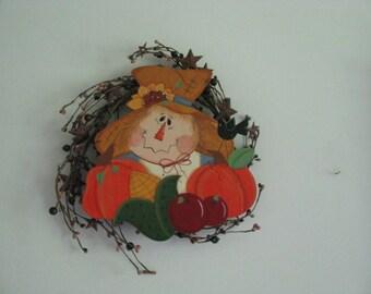 Scarecrow,  wreath, scarecrow on Wreath, wall, decor, door decor, pumpkins, apples, corn, sunflower