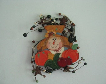 Scarecrow, wreath,  scarecrow wreath, pumpkins, apples, corn, sunflower, hand painted
