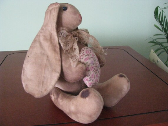 Primitive Bunny, Handsewn with Flowered Egg and Long Ears, Cheesecloth Bow