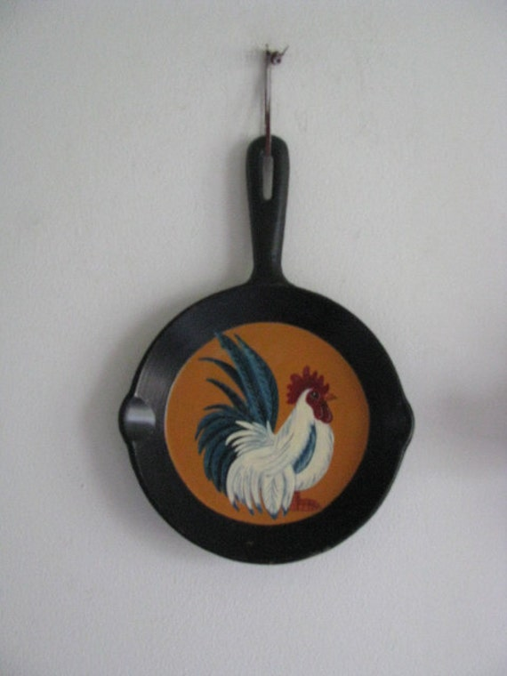 Rooster skillet OOAK, home decor, decoration, chicken collection