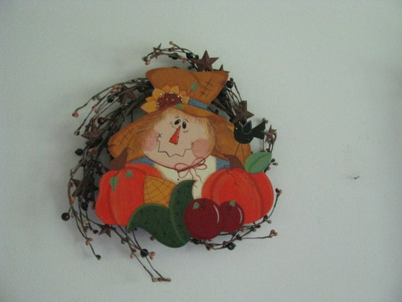 Scarecrow,  wreath, scarecrow on Wreath, wall, decor, door decor, pumpkins, apples, corn, sunflower