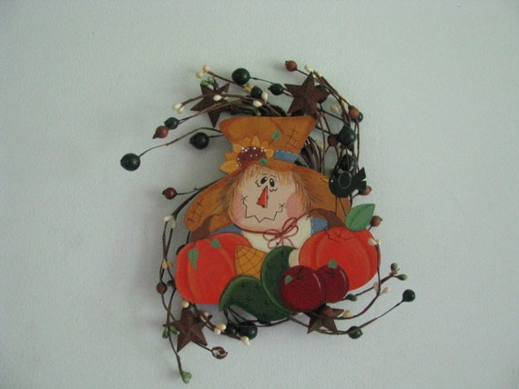 Scarecrow wreath, pumpkins, apples, corn, sunflower, hand painted