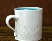 Modern Robins Egg Blue Ceramic Scrollwork Coffee Mug