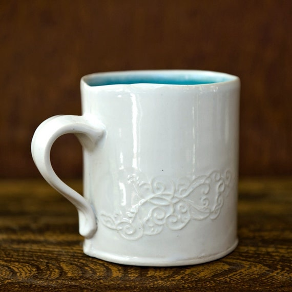 Modern Robins Egg Blue Ceramic Scrollwork Coffee Mug
