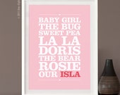 Nicknames - 16x12 inches - a unique and beautiful, customizable typographic print