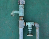 RESERVED for NISRINE  Antique Water Well 1930s Teal Aqua Patina Faucet Hand Pump