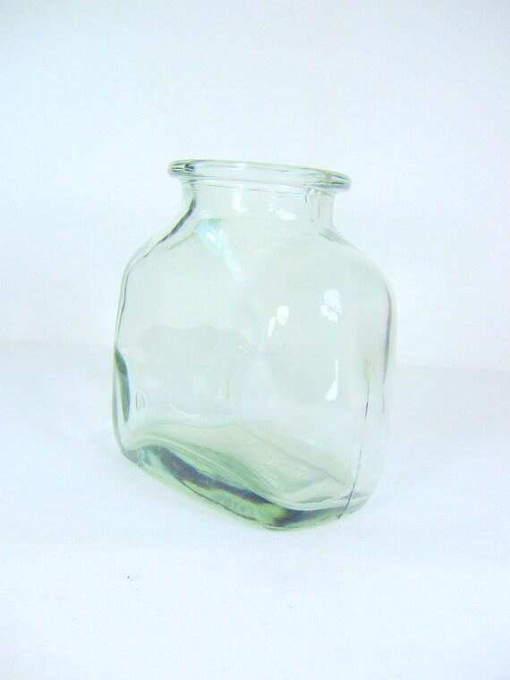 Ben Rickert Heavy Hand Blown Green Glass Jar Vase Vintage
