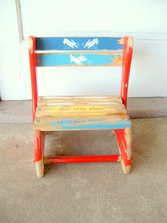Child's Chair / Step Stool Folding  Wooden Distressed  1950's Vintage