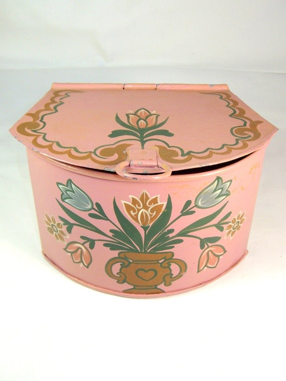 RESERVED for IAMSAMM13   Handpainted Trinket Tin with Hinged Lid  Made in Thailand