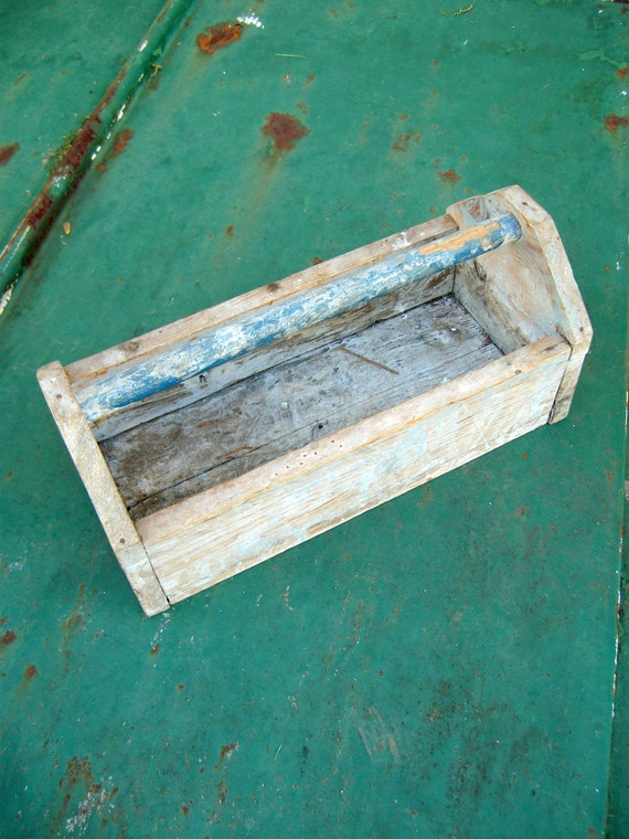 Wooden Toolbox  Garden Tote or Outdoor Planter Made with 100 Year Old Wood