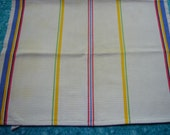 Vintage kitchen linen tea towel with colorful stripes for housewares, sewing, crafts, clothing, linen by MarlenesAttic