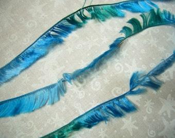 2 yards of blue green teal turquiose eyelash fringe yarn ribbon trim for jewelry, crafts, doll by MarlenesAttic - Item DT