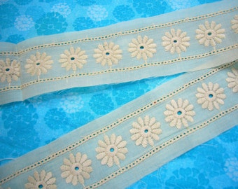 1 yard, 20 inches of 2 inch Ivory Cream Eyelet Insertion Lace trim for bridal, wedding, couture, costume, holiday by MarlenesAttic - Item EK
