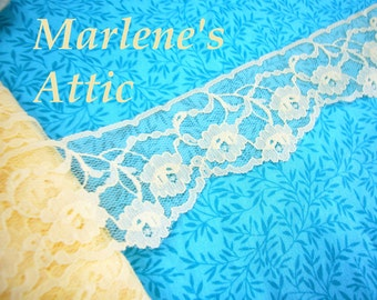 SALE 1 yard of 1 3/4 inch Yellow chantilly raschel lace trim for bridal, baby, spring, lingerie by MarlenesAttic - Item FE