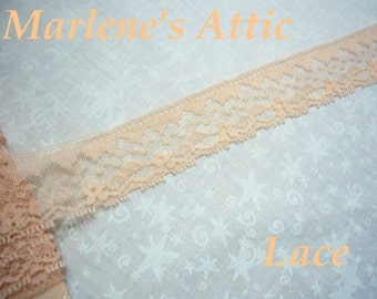 1 yard of 1 1/4 inch Dark Peach chantilly lace trim for bridal, baby, lingerie, easter, crafts, home decor by MarlenesAttic - Item DY
