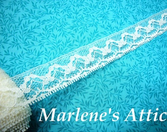 1 yard of 1 inch White chantilly lace trim, white seam lace for bridal, baby, lingerie, hair accessories by MarlenesAttic - Item IT