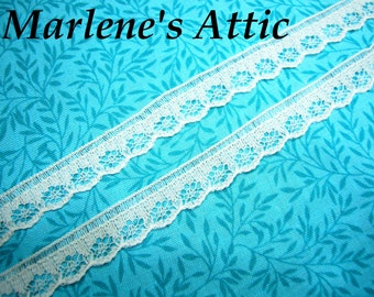 White lace, 1 yard of 1/2 inch White Chantilly lace trim, raschel lace for bridal, housewares, sewing, crafts by MarlenesAttic - Item JX