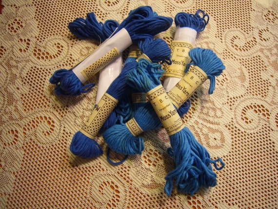 Vintage Blue Moss Yarn for sewing, embroidery, crotchet, crafts, holiday, trim, millinery