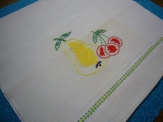 Vintage kitchen tea towel with embroidered fruit design for housewares, sewing, crafts, clothing, linen by MarlenesAttic