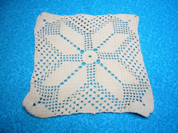 Vintage 8 inch Square Snowflake Design Hand crochet Ivory doily for housewares, home decor,crafts, shabby chic, bags by MarlenesAttic
