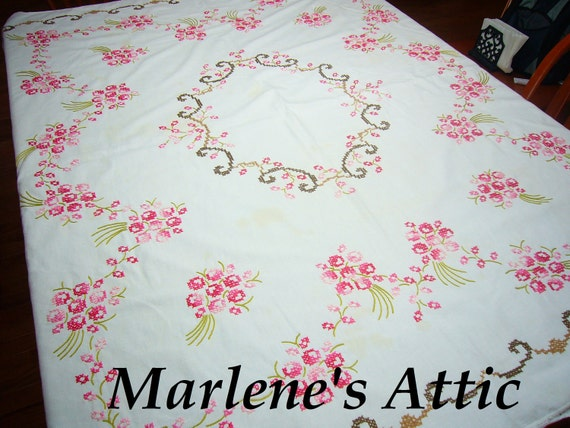 Vintage White Kitchen Dining Luncheon Tablecloth with cross stitch embroidery by MarlenesAttic