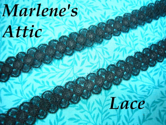 """1 yard, 30 inches of 1/2"""" Vintage Black Chantilly Lace braid trim for gothic, steampunk, lingerie by MarlenesAttic - Item HX"""