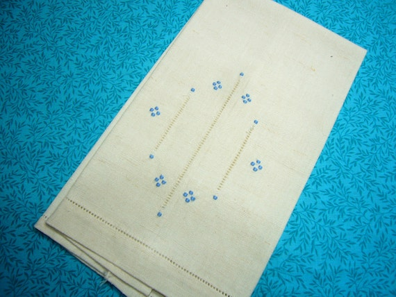 Vintage Ivory and blue kitchen linen tea towel for housewares, sewing, crafts, clothing, linen by MarlenesAttic