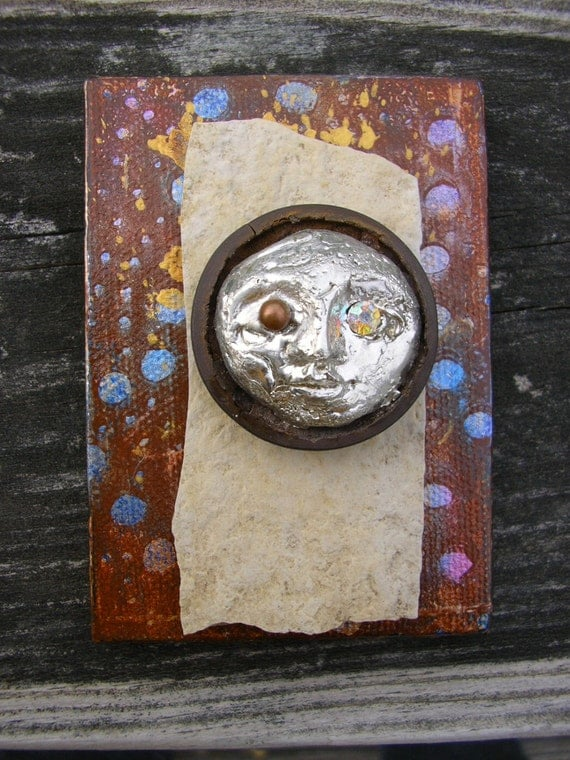 """SPIRE of SELENE - 2 1/2""""h x 3 1/2""""w Miniature mixed media assemblage on canvas"""