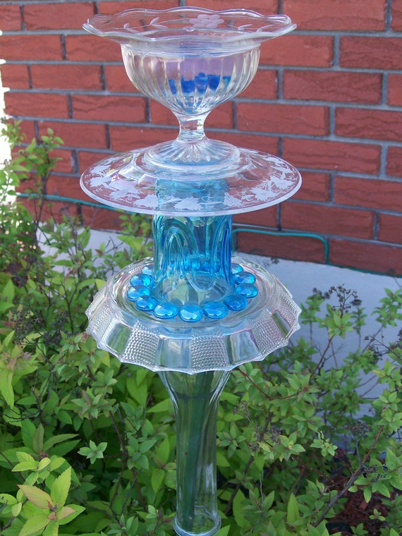 Recycled glass garden sculpture candle holder bird by - Recycled glass for gardens ...
