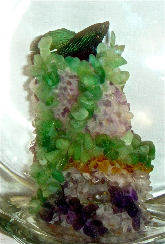 Amethyst, green aventurine, and citrine gemstone crystal aquarium decoration, also for beta fish.  For freshwater fish