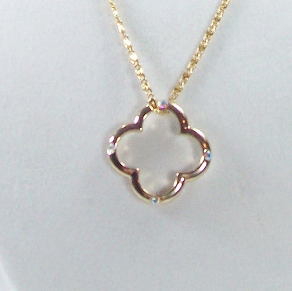 Reserved for Charlotte Beautiful Gold Floating Pendant  Necklace with Swarovski Crystals Just Reduced 50%