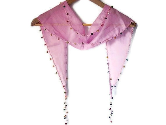 Pink Cotton Turkish Scarf  With Wooden Beads- Headband - Bandana - On The Beach - At The Pool