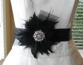 Designer Look Feather Bridal Sash with Crystal Brooch and Horsehair Trim BLACK