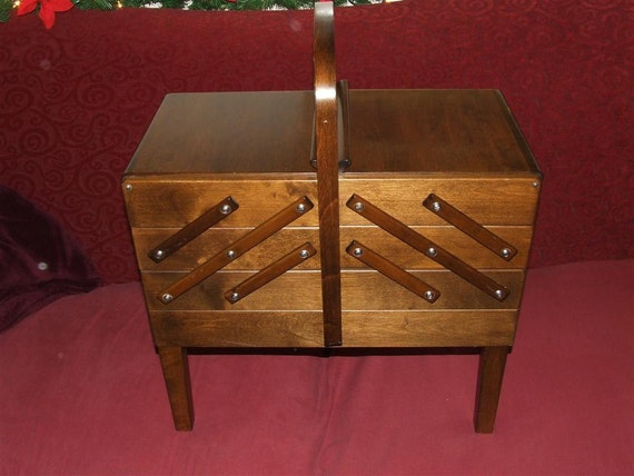 RESERVED for EMARETT --  telescoping tiered  - Norway Strommen sewing, jewelry or beads furniture storage case, box or chest