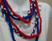 Eco Friendly Braided Lariat T Shirt Necklace July 4th