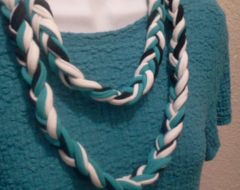 Recycled T Shirt Lariat Necklace Braided