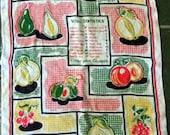 Vtg 40's Irish Dish Towel w/ Fruit Theme - KITSCH - Made in Ireland -Yellow Green Red Black Cloth