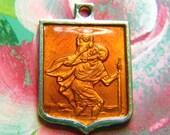 Vtg Amber Enamel ST CHRISTOPHER Medal in French Art Deco FRANCE I am a Catholic...