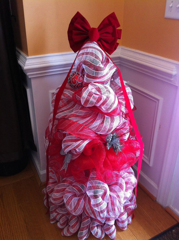 Candy Striped Deco Mesh CHRISTMAS TREE