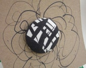 Hair Accessory Giant Button Covered  in Vintage Black & White Print Fabric