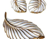 Vintage Trifari Brooch and Earrings - White and Gold Leaf